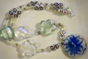 Vintage Blue Flower Fashion Necklace by ChibiSayuriEtsy