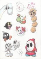 Cute Mario characters by Marindashy