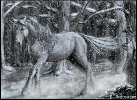 Unicorn in the snow by Skarbog