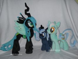 Chrysalis, Lyra and filly Luna by MLPT-fan