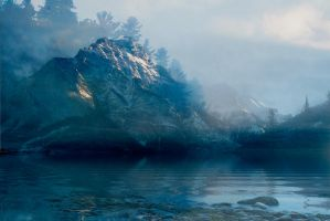 Fog Covered Lake And Mountains BG by Blackfire Ink by scryer41