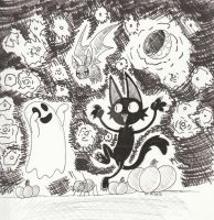 Inktober Day 30-Halloween Pals by Inkblot-Rabbit