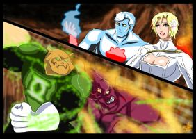 Captain Atom and Powergirl  - Flame of Py'tar (6) by adamantis