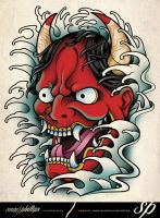 Hannya Mask Tattoo by Sam-Phillips-NZ