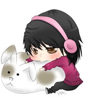 Me Chibi with Fluffy bunny by MaiChuu