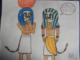 AT: Amun-Ra and Horus by DoubleKatanaSayuri