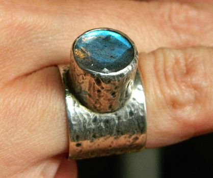 Tears of a Tree silver ring with blue labradorite by YANKA-arts-n-crafts