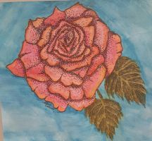 Stippled Watercolor Rose by MyPencilRanOutOfInk