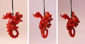 Hanging Red Dragon by LitefootsLilBestiary