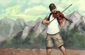 Commish: Violin by johnnyrocwell