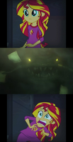 Sunset Shimmer Meets the River King (Meme) by FrostRaven32