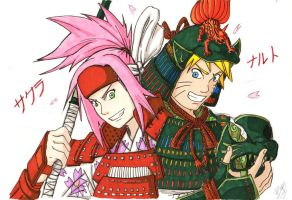 Whirling and Enduring NaruSaku -Copic Sketch- by Bollybauf-chan