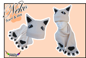 Hat and Scarf - White Neko by BoushiPlushie
