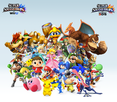 Super Smash Bros. Wii U/3DS Group Wallpaper v11 by CrossoverGamer