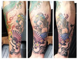 Geisha Girl part of jap sleeve in progress by Ashtonbkeje