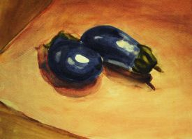 Watercolor Study Tiny Eggplant by new-moon-night
