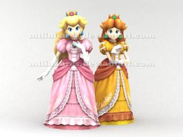 Princesses Peach and Daisy by MTlinhares