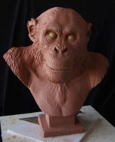Chimpanzee: Finished sculpture, front view by revenant-99