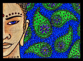 Buddha With Paisley ACEO 10 by Siobhan68