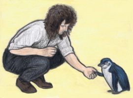 Brian May shaking hands with a penguin by gagambo