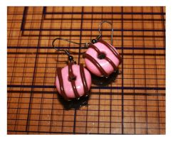 Strawberry Iced Donut Earrings by bettenoir87