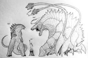 My Godzilla size comparison to my Biollante by artisticallyautistic