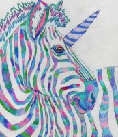 Rainbow Zebra Unicorn by Gothic-Night-Raven