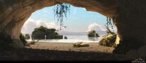 View from a cave by 3DLandscapeArtist