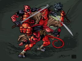 Deadpool VS Hellboy color by Mortal-Mirror