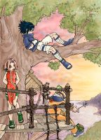 naruto - Team7 in a treehouse by askerian