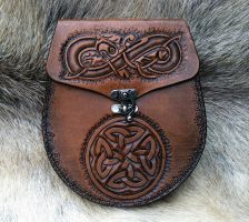 Celtic Knotwork - Brown Distressed - Sporran Bag by SonsOfPlunderLeather
