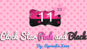 Clock Star Pink And Black By : ME by AprendixXx29