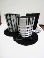 Black and white stripped mini top hats by MelissaRTurner