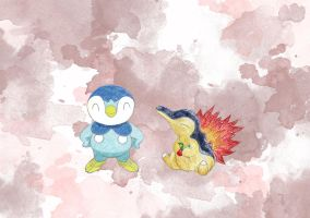 Piplup and Cyndaquil by ToRnUpTo