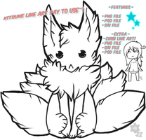 Kitsune line art Pay to use by E-R-E-K