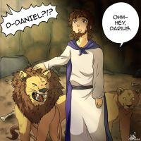 Daniel in the Lion's Den by shock777