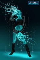 Create A Glowing Neon Girl by NaldzGraphics