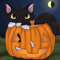Halloween chibi kitty by Mirera