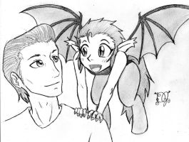 Bat Satyr and Father by DJ-black-n-white