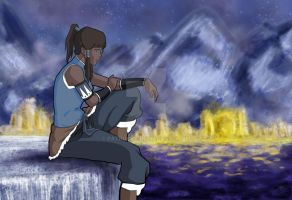 Korra sitting by Patrucca