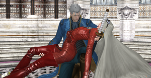 Vergil holds Jeanne into his arms by Hatredboy