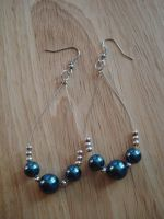 Blue Pearl Wire Hoops by shikerche