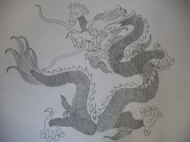 Chinese Dragon Tattoo Sketch by 3FF3CT