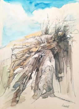 Mountain in water color and ink by Lineke-Lijn