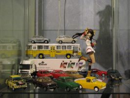 Chinese girl surrounded with Dutch vehicles by BlackLeatheredOokami