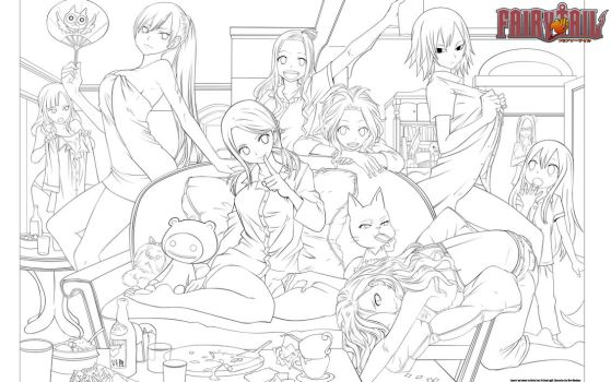 A Fairy Tail Party Lineart by DutchLion