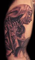 saint catherine statue tattoo by hatefulss