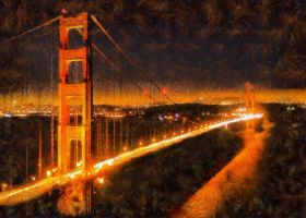 San Francisco's Golden Gate Bridge at night by RHuggs