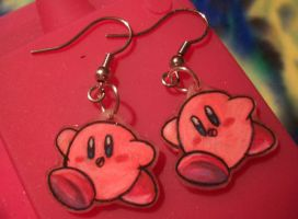 Kirby earrings by estranged-illusions