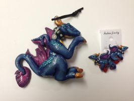 My Pet Dragon Pendant and Earring Set by omfgitsbutter